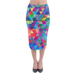 Colorful Abstract Triangle Shapes Background Midi Pencil Skirt by TastefulDesigns