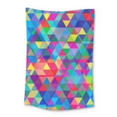 Colorful Abstract Triangle Shapes Background Small Tapestry by TastefulDesigns