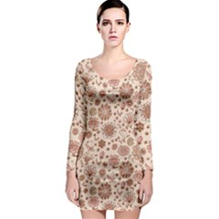 Retro Sketchy Floral Patterns Long Sleeve Bodycon Dress by TastefulDesigns
