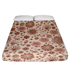Retro Sketchy Floral Patterns Fitted Sheet (queen Size) by TastefulDesigns