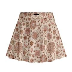 Retro Sketchy Floral Patterns Mini Flare Skirt by TastefulDesigns