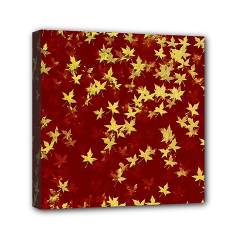 Background Design Leaves Pattern Mini Canvas 6  X 6  by Simbadda