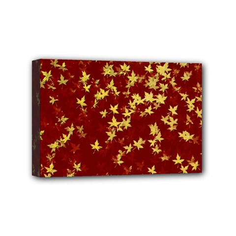 Background Design Leaves Pattern Mini Canvas 6  X 4  by Simbadda