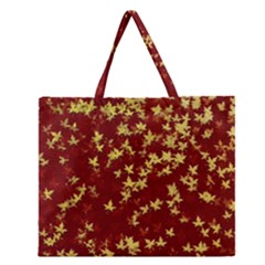 Background Design Leaves Pattern Zipper Large Tote Bag by Simbadda