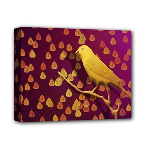 Bird Design Wall Golden Color Deluxe Canvas 14  X 11  by Simbadda