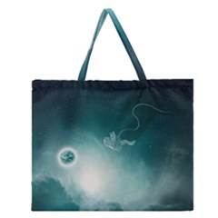 Astronaut Space Travel Gravity Zipper Large Tote Bag by Simbadda