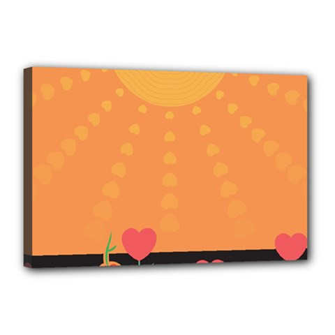 Love Heart Valentine Sun Flowers Canvas 18  X 12  by Simbadda