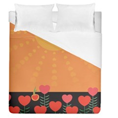 Love Heart Valentine Sun Flowers Duvet Cover (queen Size) by Simbadda