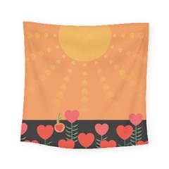 Love Heart Valentine Sun Flowers Square Tapestry (small) by Simbadda