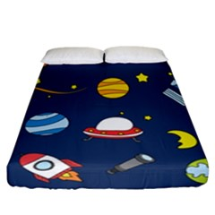 Space Background Design Fitted Sheet (california King Size) by Simbadda