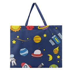 Space Background Design Zipper Large Tote Bag by Simbadda