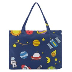 Space Background Design Medium Zipper Tote Bag by Simbadda
