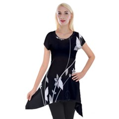 Plant Flora Flowers Composition Short Sleeve Side Drop Tunic by Simbadda