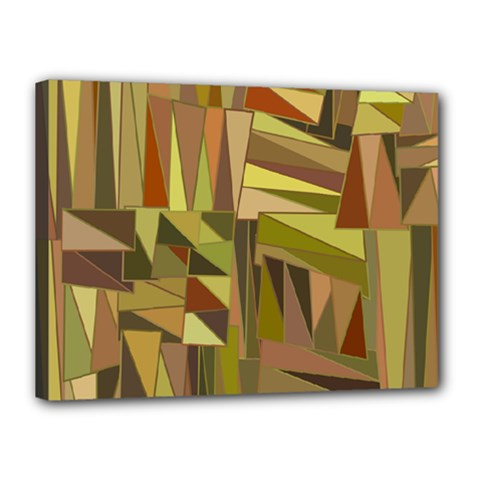 Earth Tones Geometric Shapes Unique Canvas 16  X 12  by Simbadda