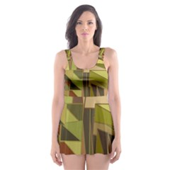Earth Tones Geometric Shapes Unique Skater Dress Swimsuit by Simbadda