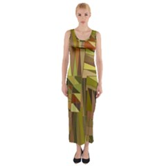 Earth Tones Geometric Shapes Unique Fitted Maxi Dress by Simbadda