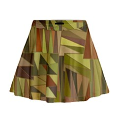 Earth Tones Geometric Shapes Unique Mini Flare Skirt