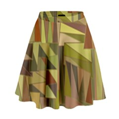 Earth Tones Geometric Shapes Unique High Waist Skirt by Simbadda