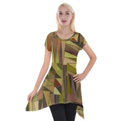 Earth Tones Geometric Shapes Unique Short Sleeve Side Drop Tunic by Simbadda
