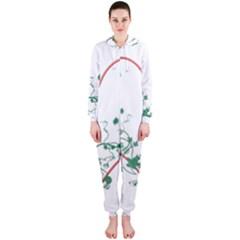 Heart Ranke Nature Romance Plant Hooded Jumpsuit (ladies)