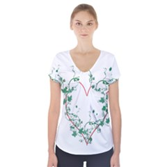 Heart Ranke Nature Romance Plant Short Sleeve Front Detail Top by Simbadda