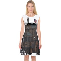 Steampunk Lock Fantasy Home Capsleeve Midi Dress