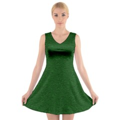 Texture Green Rush Easter V Neck Sleeveless Skater Dress
