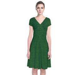 Texture Green Rush Easter Short Sleeve Front Wrap Dress by Simbadda