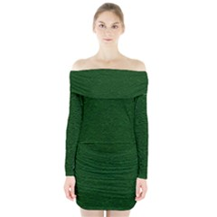 Texture Green Rush Easter Long Sleeve Off Shoulder Dress by Simbadda