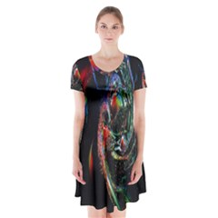 Abstraction Dive From Inside Short Sleeve V-neck Flare Dress by Simbadda