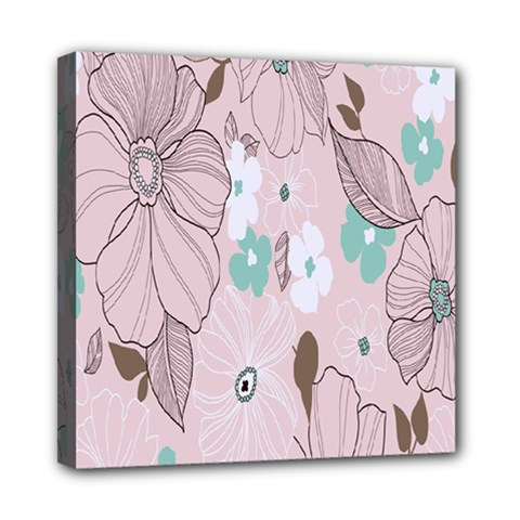 Background Texture Flowers Leaves Buds Mini Canvas 8  X 8  by Simbadda