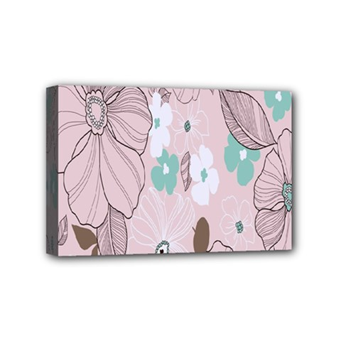 Background Texture Flowers Leaves Buds Mini Canvas 6  X 4  by Simbadda