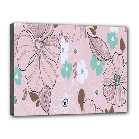 Background Texture Flowers Leaves Buds Canvas 16  X 12