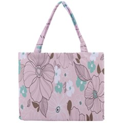 Background Texture Flowers Leaves Buds Mini Tote Bag by Simbadda