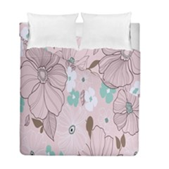 Background Texture Flowers Leaves Buds Duvet Cover Double Side (full/ Double Size) by Simbadda