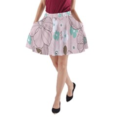 Background Texture Flowers Leaves Buds A Line Pocket Skirt by Simbadda