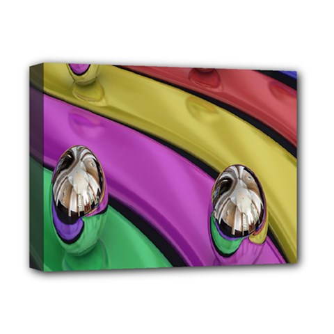 Balloons Colorful Rainbow Metal Deluxe Canvas 16  X 12   by Simbadda