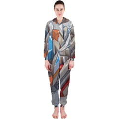 Abstraction Imagination City District Building Graffiti Hooded Jumpsuit (ladies)  by Simbadda