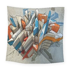 Abstraction Imagination City District Building Graffiti Square Tapestry (large) by Simbadda