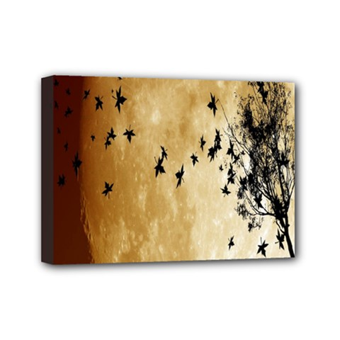 Birds Sky Planet Moon Shadow Mini Canvas 7  X 5  by Simbadda