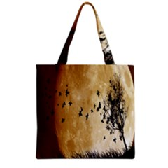 Birds Sky Planet Moon Shadow Grocery Tote Bag by Simbadda