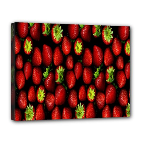 Berry Strawberry Many Canvas 14  X 11  by Simbadda