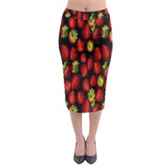 Berry Strawberry Many Midi Pencil Skirt by Simbadda