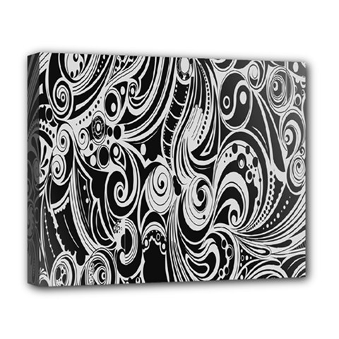 Black White Pattern Shape Patterns Deluxe Canvas 20  X 16   by Simbadda