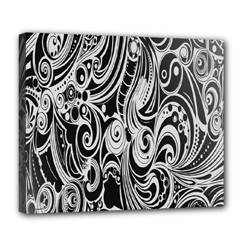 Black White Pattern Shape Patterns Deluxe Canvas 24  X 20   by Simbadda
