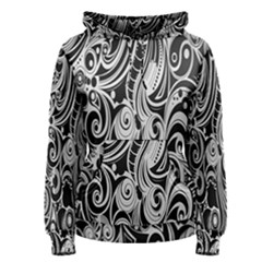 Black White Pattern Shape Patterns Women s Pullover Hoodie