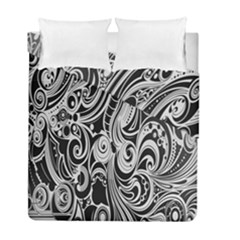 Black White Pattern Shape Patterns Duvet Cover Double Side (full/ Double Size) by Simbadda