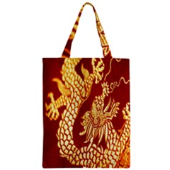 Fabric Pattern Dragon Embroidery Texture Zipper Classic Tote Bag by Simbadda