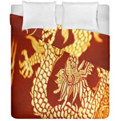 Fabric Pattern Dragon Embroidery Texture Duvet Cover Double Side (california King Size)