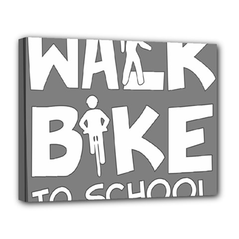 Bicycle Walk Bike School Sign Grey Canvas 14  X 11  by Alisyart